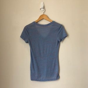 adidas Tops - Adidas Blue and Pink Speckled Workout V-neck Tee